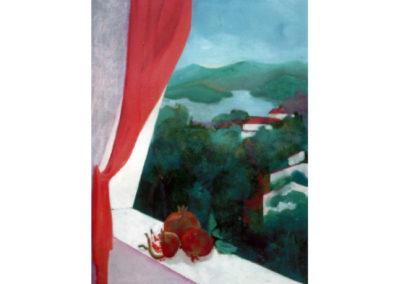 Tetti rossi e melograni, 1979 (collez. privata) olio su tela, cm. 70x50