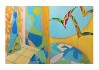Tutto intorno è calmo e sereno, 1991 olio su tela, cm. 100x120