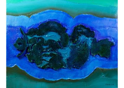 Paesaggio acquatico, 2018 tecnica mista su tela, cm. 80x100