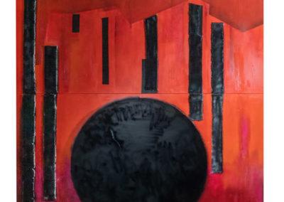 Struttura (luna nera), 2019 tecnica mista su tela, cm. 200x200