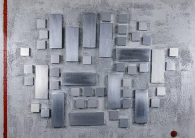 Composizione architettonica I, 2019 tecnica mista su tela, cm. 100x120