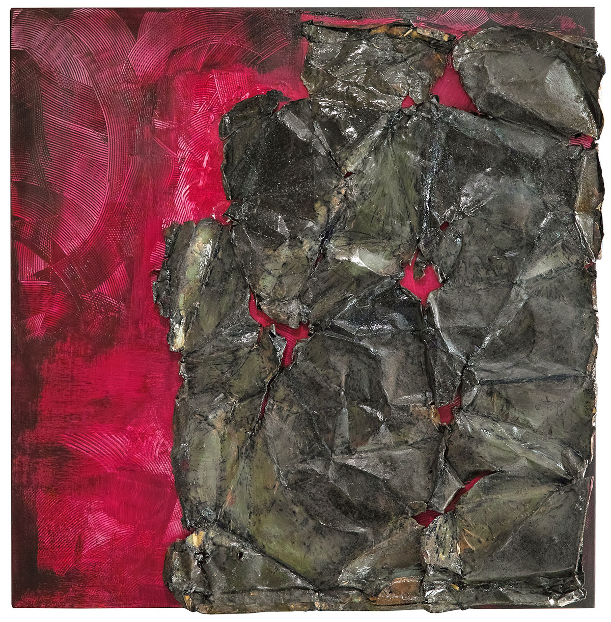 Ardente (2020), tecnica mista su tela, cm. 100x100