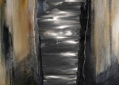 Flusso verticale (2021) tecnica mista su tela, cm. 80x80